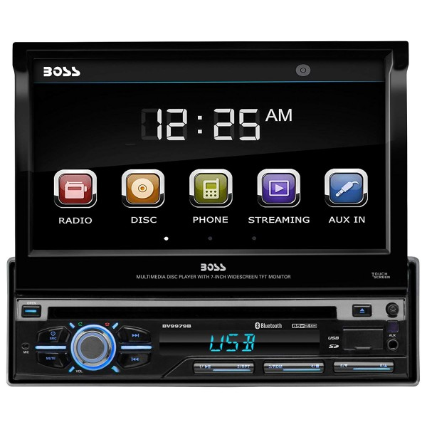 BOSS AUDIO BV9979B In-Dash Single-Din 7-inch Motorized Detachable Touchscreen DVD/CD/USB/SD/MP4/MP3 Player Bluetooth Hands-free with Remote